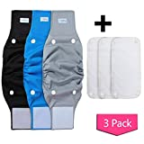 Teamoy Washable Wrap Diapers for Male Dogs with Removable Pads, Reusable Absorbent Puppy Belly Band(Pack of 3), Grey+Black+Blue, L1