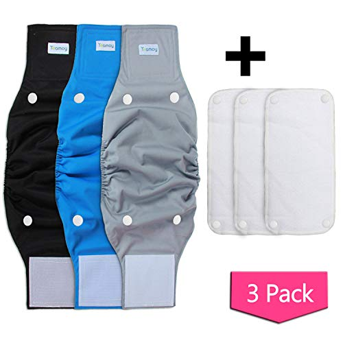 Teamoy Belly Bands for Male Dogs with Removable Pads, Reusable Washable Puppy Dog Diaper Wraps(Pack of 3), L1