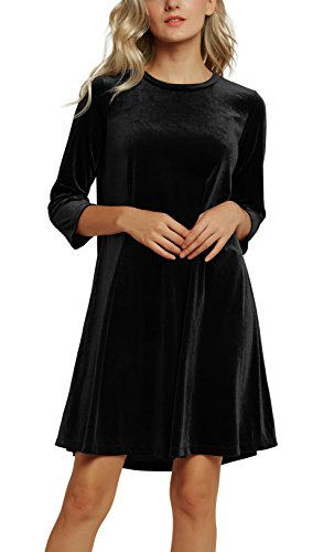 Black Stretch Velvet Dress - 7