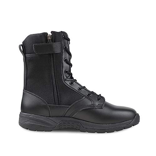 Ludey Men's 8'' Military Boots Leather Nylon Work & Safety Boots Tactical Boots Outdoor Water Resistant Boots with Zipper IDS-832 Black 7.5 US