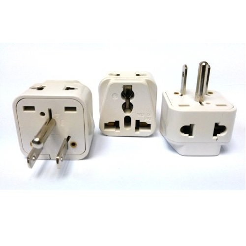 CKITZE BA-5-3P Grounded Universal 2-in-1 Type B USA Plug Adapter - 3 Pack (Usa To Power China Adapter)