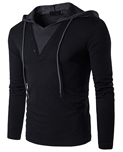 Guoji Men's Casual Slim Fit Long Sleeve T-Shirt with Hooded/Hoodies Tops (B24-Black X-Large)