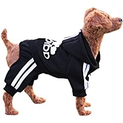 EastCities Winter Puppy Hoodie for Small Dogs Warm Coat Sweater Four Legs Pet Clothes for Dog Cat,Black S