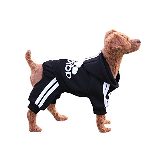 EastCities Winter Puppy Hoodie for Small Dogs Warm Coat Sweater Four Legs Pet Clothes for Dog Cat,Black -