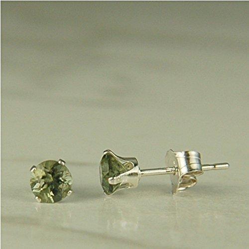 Moldavite 4mm Sterling Silver Stud Earrings Natural Untreated