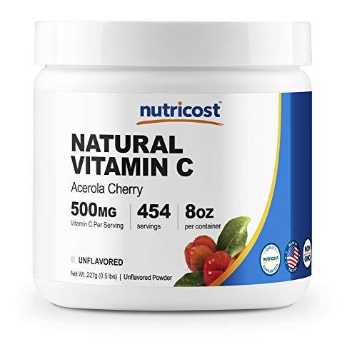 Nutricost Natural Vitamin C - Acerola Cherry Powder .5 LB - Gluten Free & Non-GMO