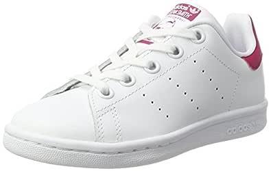 adidas  Kids Stan Smith Crib Shoes, Footwear White/Footwear White/Bold Pink, 0-6 months