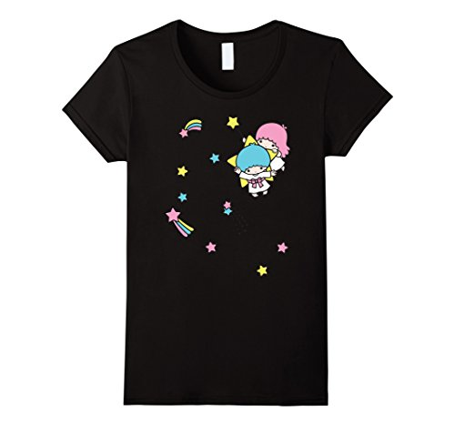 Little Twin Stars (Womens Little Twin Stars Rainbow Stars Tee XL Black)