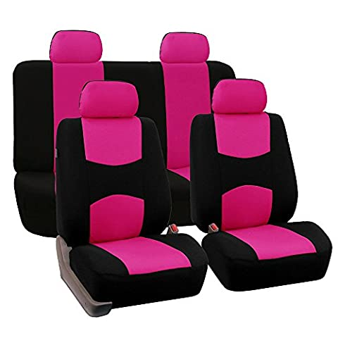 FH GROUP FH-FB050114 Full Set Flat Cloth Car Seat Covers, Pink / Black - Fit Most Car, Truck, Suv, or Van