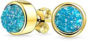 Bling Jewelry 8mm Dyed Teal Druzy Quartz Stud Earrings Gold Plated