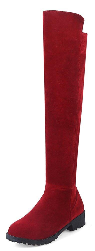 Easemax Damen Elegant Langschaft Nubuk Overknee Profilsohle Stiefel Schwarz 41 EU jQZlW3o