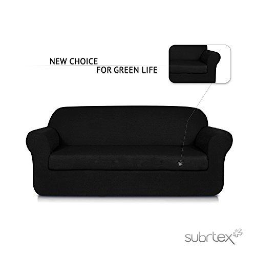 Subrtex 2-Piece Jacquard Spandex Stretch Sofa Slipcovers (Sofa, (2 Piece Leather Sectional)