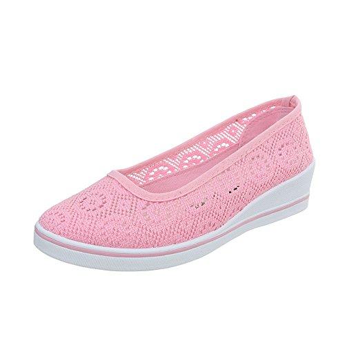 Damen Schuhe Halbschuhe Keil Wedges Slipper Rosa