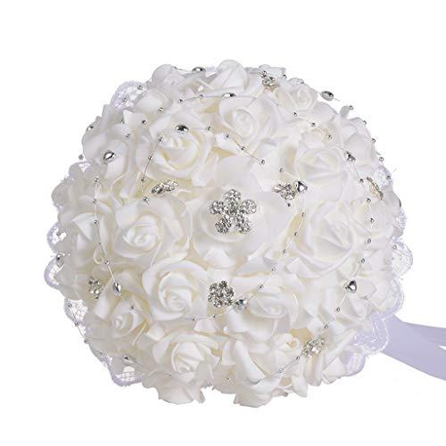 AIUSD Wedding Bouquet Bouquet Crystal Rose Pearl Bridesmaid Wedding Bouquet Bride Artificial Silk Flower