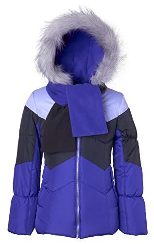 Sportoli Girls' Winter Colorblock Hooded Puffer Bubble Jacket Coat Hat & Scarf - Purple Clash (Size ()