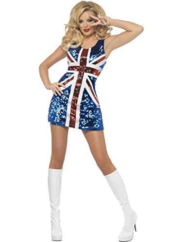 British Flag Mini Dress (Womens All That Glitters Rule Britannia Sequin British Flag Mini Dress Small 6-8)