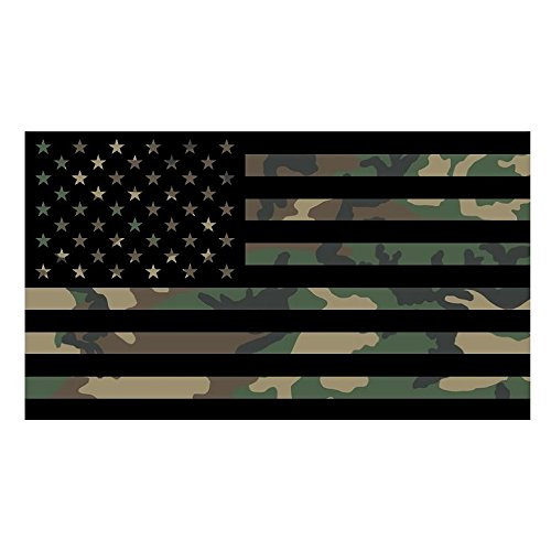 Camo AMERICAN FLAG Sticker Custom Vinyl United States Marines Army Navy Airforce Guns Arms Right Camoflauge ()
