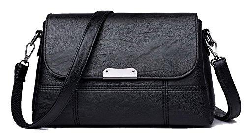 Agoolar Women Satchel-style Handbags Fashion Handbags Cross Work, Gmxba181623, Black Black