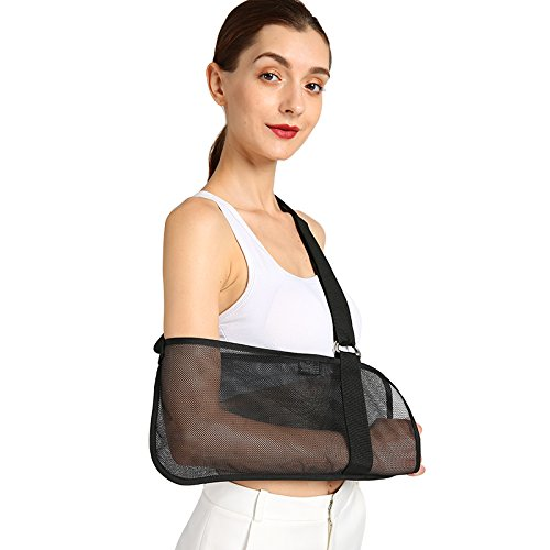 (Vinfit Medical Breathable Mesh Arm Sling Shoulder Support Belt with Adjustable Strap, Injured Forearm Supporter Cuff Wrist Elbow Brace Immobilizer Fracture Protector for Women Men, Black)