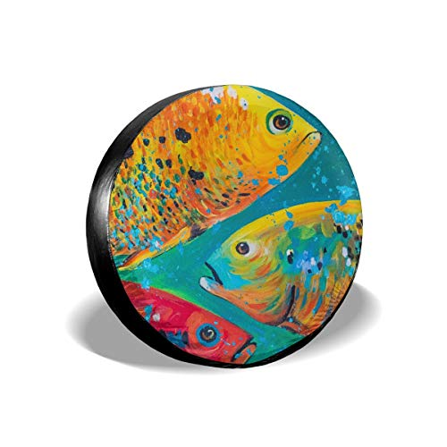 - Angel Rainbow Yellow Fish Marine Art PaintingWaterProof Dust-Proof Spare Tire Universal Spare Wheel Tire Cover Fit for Jeep Accessory Trailer RV SUV and Many Vehicle 14