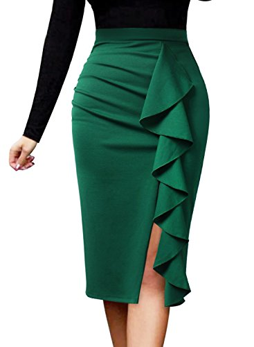 2511 Green - VFSHOW Women Elegant Ruched Ruffle Slit Work Business Party Pencil Skirt 2511 GRN L