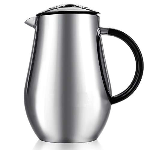 Cheesea 1000ml 8-Cup Double-Wall Vacuum Insulated Stainless Steel French Press Coffee Maker Cup Carafe kettle with no drip spout