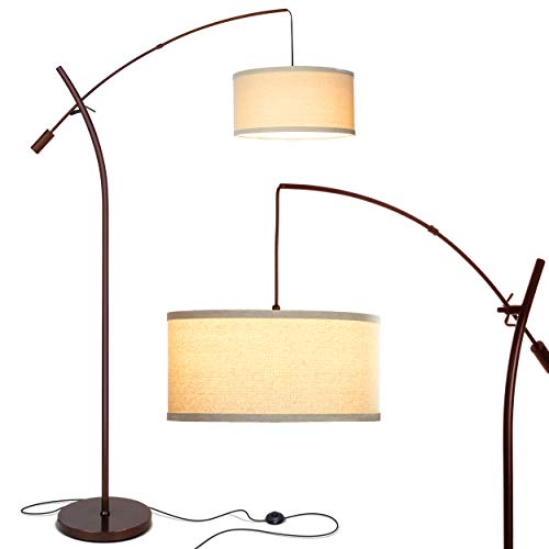 (Brightech Grayson LED Arcing Floor Lamp- Tall Pole Standing Light for Living Room Den Office Bedroom - Adjustable Arm with Hanging Pendant Shade - Oil Brushed Bronze)
