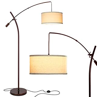 Brightech Grayson - Modern Arc Floor Lamp for Living Room - Contemporary, Tall LED Light Reaching from Behind The Couch to Hang Over It - Adjustable Arm - Industrial Style Lighting - Bronze