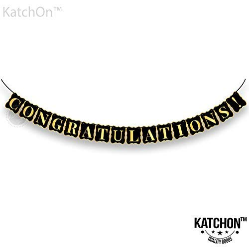 Congratulations Banner, Graduation Decorations, No DIY Required, Graduation Party Supplies 2019 | Graduations Banner Sign | Achievement Party, Bridal Shower | Gold and Black | 8x6 Inch]()