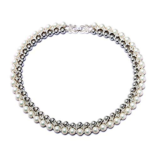 WYWT Black and White Pearl Necklace Collar with Crystal Multi Layer Statement Jewelry Fashion for Women ()