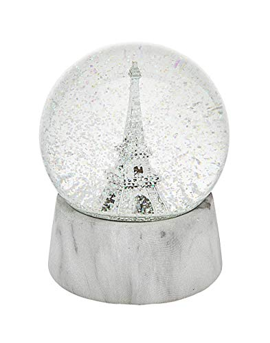 Philip Whitney Snow Globe Silver Eiffel Tower with Marble Base Medium