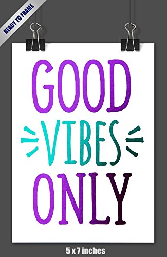Unframed Good Vibes Only Purple & Teal Foil Art Print Inspirational Modern Room Decor Poster Decor 5 x 7 inches for Women, Teens and Girls | SPUNKYsoul Designs