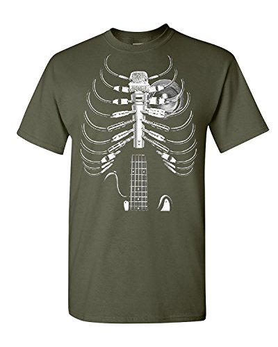 Amped Up Guitar amp Microphone T-Shirt Skeleton Rock