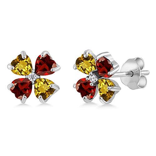 Gem Stone King 1.13 Ct Heart Shape Yellow Citrine Red Garnet 925 Sterling Silver Earrings