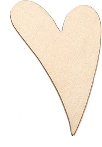 Barbell 6 Ga (Brass 24 Ga- 1 1/2in X 1in Funky Heart- Pk/6 - MET-435.10)