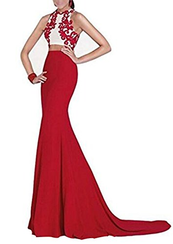 Ivy lisa Long Two Pieces Mermaid Red Blue Chiffon For Women's Homecoming Party Prom Evening Ladies Ball Gowns Dresses (Red, 2) (Two Mermaid Dress Piece)