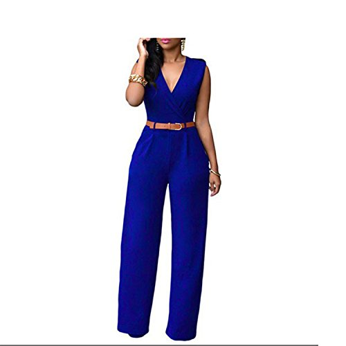 Women Sleeveless Overalls Belted Wide Leg Jumpsuit Long Pant Jumpsuits 09 XXL by nboba jumpsuits