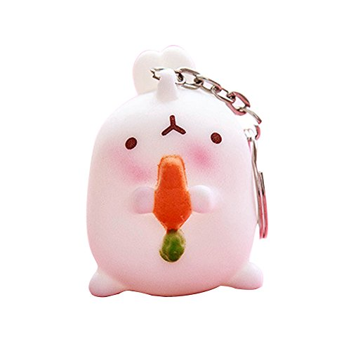 BAOBAO Cute Otato Bunny Fat Rabbit Charm Car Bag Keychain Keyring Silver(Pack of 3 Random)