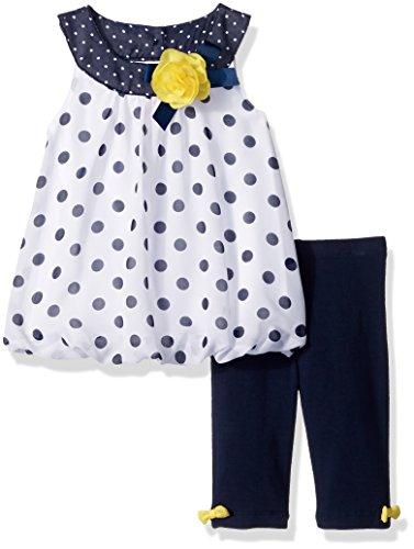 Little Me Baby Girls' Chiffon Tunic and Capri Set, White/Navy 24 Months