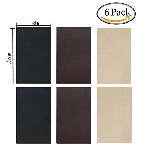 6 Pieces Leather Patch, Adhesive Backing leather seat patch for Repair Sofa, Car Seat, Jackets, Handbag, 13 by 7 Inch, 3 colour