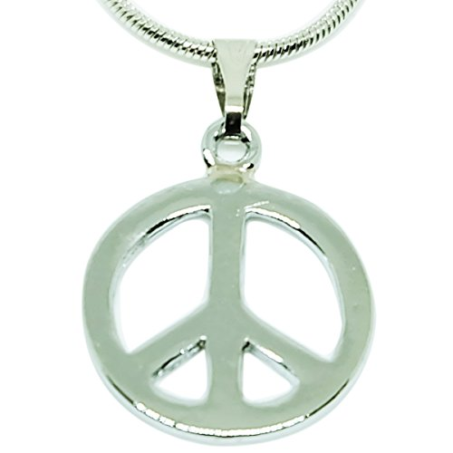 Stainless Steel Pendant, Hippie Peace Sign Love Pendant Necklace (Tie Dye Pinata)