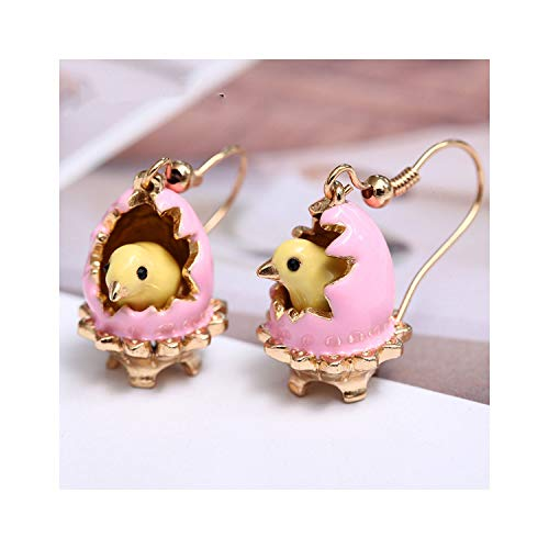 Painted Enamel Glazed Broken Egg Shell with Cute Chicken Earring For Women With Hook,Pink Color