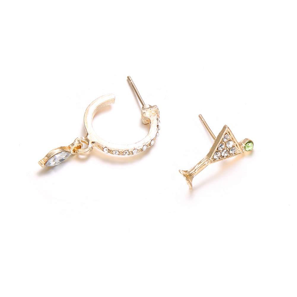 Polytree Earrings, 2Pcs Womens Girls Rhinestone Circle/Goblet Ear Stud Piercing Earrings Jewelry Gift