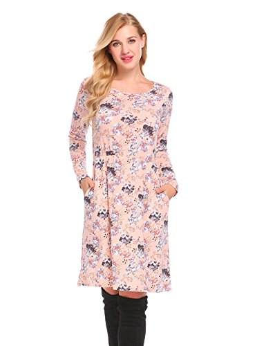 - Hotouch Women's Floral Print Crew Neck Long Sleeve Pocket Elastic Waist Flowy Party Midi Dress (Pink S)