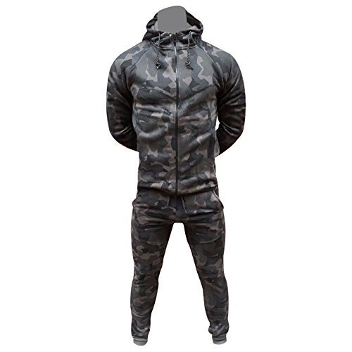 FASHIONCHIC Mens Army Camouflage Design Camo Tracksuit Hoodie Zipper Joggers 2 Piece Multi Camo Suit