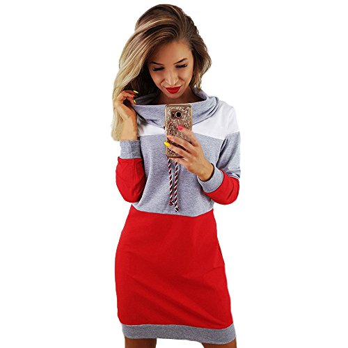 righe Womens Festive Pullover Bodycon Overdose Sleeve a Long Short Dress Mini Casual grigie wIqnSdPS