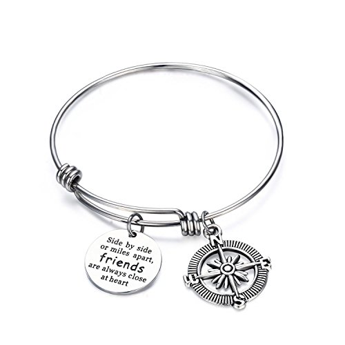 Best Friend Bracelets - Side By Side Or Miles Apart Compass Best Friends Bangle Bracelets Adjustable,Long Distance Friendship Gift, Stainless Steel Bracelet
