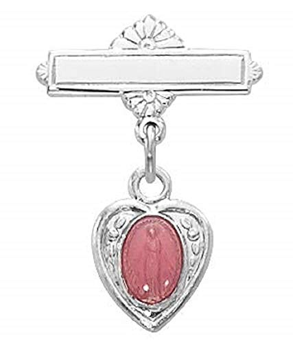 Hail Mary Gifts SS Pink MIRAC Baby PIN/T, Sterling Pink Miraculous Medal RF Baby BAR PIN Gift Box Included