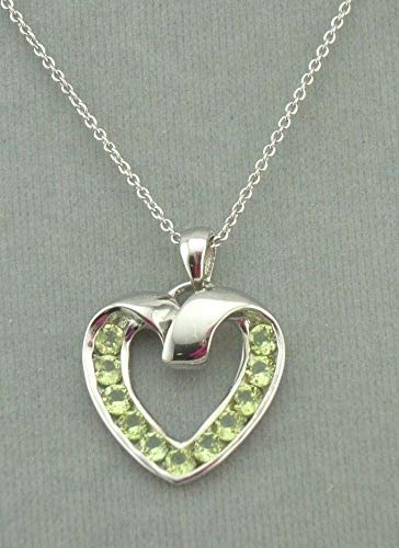 Heart Pendant Necklace For Women Silver Peridot Gemstone Jewelry Valentines