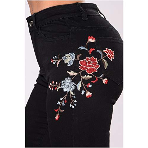 Elasticizzati Neri Nero Pantaloni Jeans Donna Ricamati DAMENGXIANG Nuovi Da UXH00q